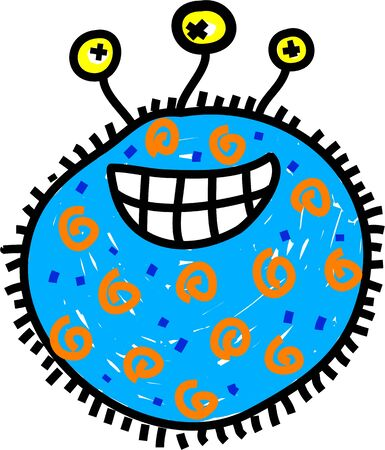Cute cartoon blue germ with three eyes and a toothy grin isolated on white. photo