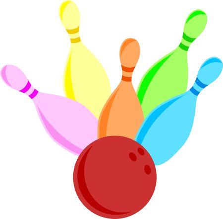 Afbeelding van een reeks van kleurrijke bowling kegel wordt neer ges lagen door een bowling bal.