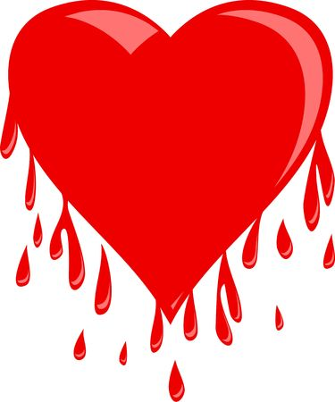 appears: Simple red heart shape that appears to be dripping droplets of blood. Illustration isolated on a white background. Stock Photo