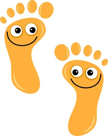 A pair of cute cartoon footprints with happy smiling faces isolated on white. photo