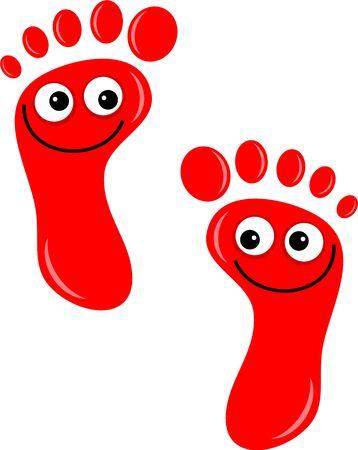 huellas de pies: Un par de huellas de dibujos animados lindo con felices caras sonrientes aislados en blanco. Foto de archivo