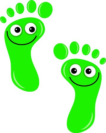 A pair of cute cartoon footprints with happy smiling faces isolated on white.