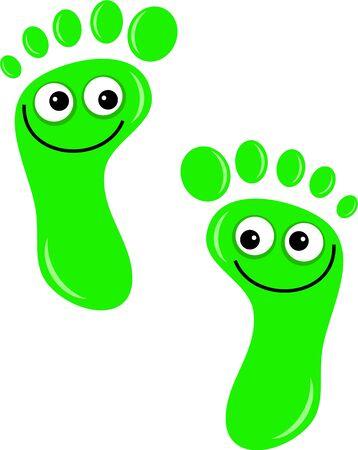 huellas pies: Un par de huellas de dibujos animados lindo con felices caras sonrientes aislados en blanco. Foto de archivo