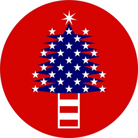 Illustration of a Christmas tree made up of the stars and stripes of the American flag of the United States. illustration