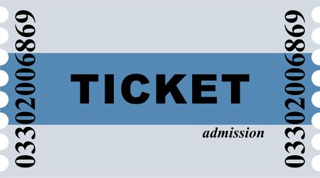 particular: Simple graphic illustration of a blue striped ticket allowing entrance to the cinema or particular event. Stock Photo
