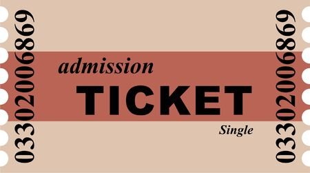 prawny: Simple graphic illustration of a brown striped single admission ticket to the cinema or other event. Stock Photo