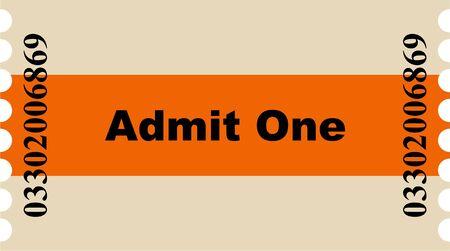 Ilustraci�n gr�fica simple de un ticket de entrada de rayas color naranja para el cine o cualquier otro evento.  Foto de archivo - 6596918