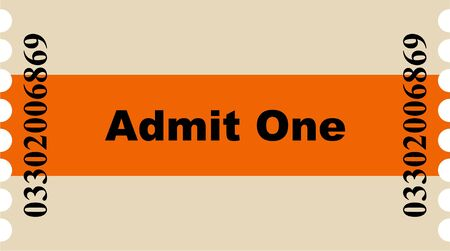 prawny: Simple graphic illustration of a orange striped  entry ticket to the cinema or other event.