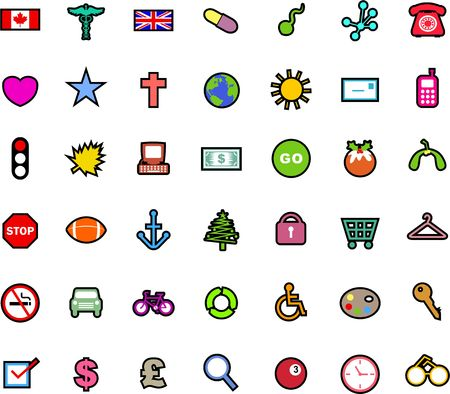 A set of simple colourful icons covering a range of subjects and isolated on a white background. photo