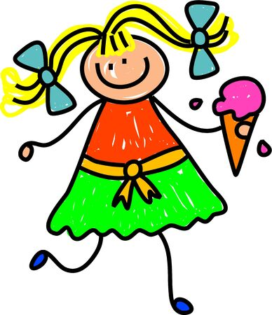 prawny: Cute whimsical childlike drawing of a happy little girl with a raspberry flavoured ice cream cone.
