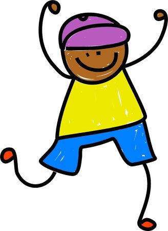 prawny: Cute whimsical childlike drawing of a happy ethnic boy with his hands in the air. Stock Photo