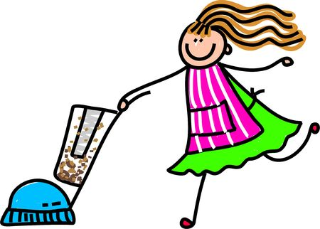 Cute childlike drawing of a mother wearing her pinny and doing the hoovering up.