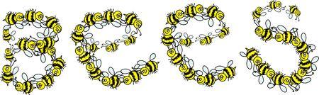 avispa: Ilustraci�n de dibujos animados de las abejas de la palabra compuesta de lotes de las abejas de abejorro enjambrar sobre aislados en blanco.  Foto de archivo