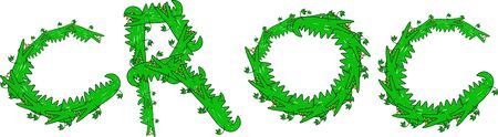 prawny: Cartoon graphic illustration of the word CROC made up of lots of little crocodiles isolated on white.