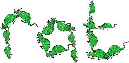 prawny: Green illustration of the word RAT made up of lots of little cartoon rats isolated on white. Stock Photo