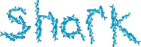 prawny: Blue graphic illustration of the word SHARK made up of lots of little cartoon sharks isolated on white. Stock Photo