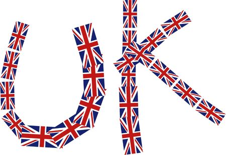 Graphic illustration of the word UK made up of lots of little union jack British flags isolated on white. Stock Photo