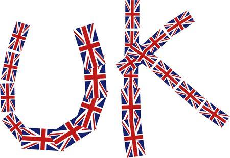 Illustration graphique du Royaume-Uni mot composé de lots de drapeaux britanniques de peu union jack isolées sur blanc.