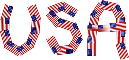 prawny: Graphic illustration of the word USA made up of lots of little flags of the United States of America isolated on white.