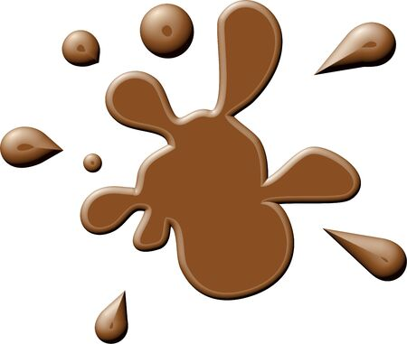 Simple graphic illustration of a splattering of brown paint or ink isolated on white.