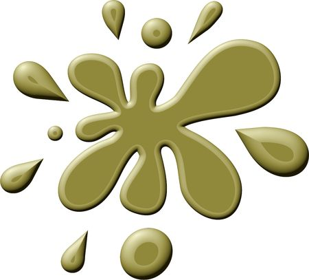 prawny: Simple graphic illustration of a splattering of greenish brown paint or ink isolated on white. Stock Photo