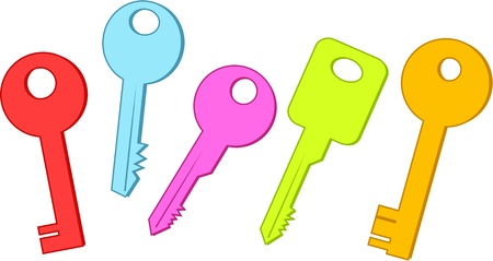 prawny: Collection of five colourful keys in different shapes isolated on white.