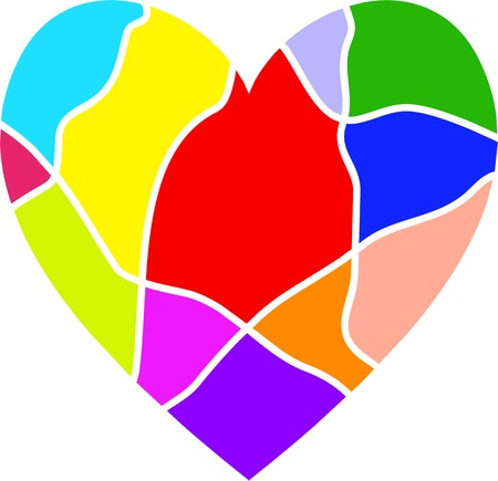 colurful: Colurful heart shaped design that resembles a stained glass window isolated on white.