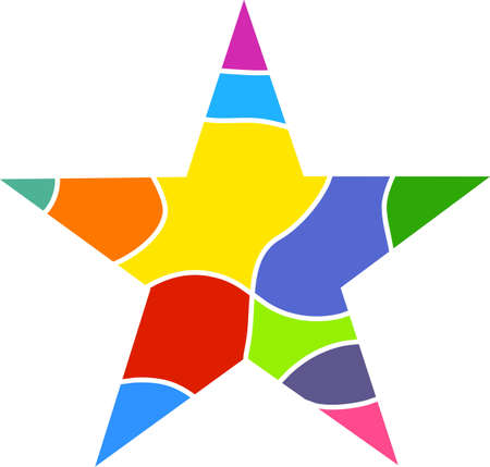 prawny: Colourful star shaped design that resembles a stained glass window isolated on white.