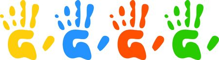 prawny: Four colourful childlike hand prints set out neatly in a row isolated against a white background.
