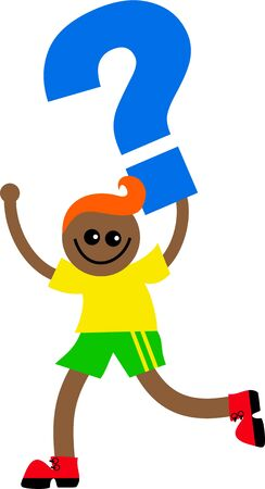 prawny: Illustration of a happy smiling little ethnic boy holding a giant question mark symbol isolated on white.