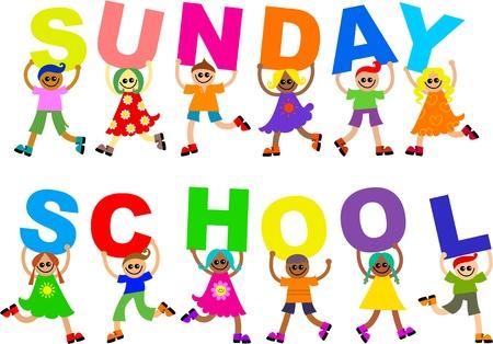 Cute illustratie van een groep van gelukkig en diverse lachende jongens en meisjes bedrijf in brieven die uit de woorden zondags SCHOOL spellen. Stockfoto