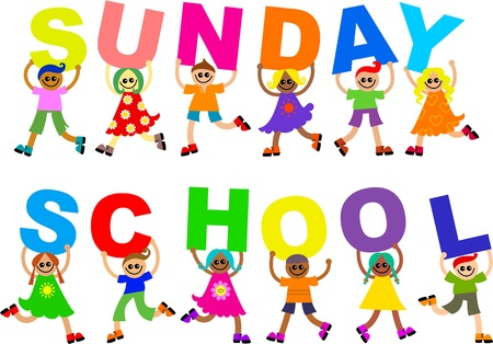 Cute Illustration einer Gruppe von glücklich und diverse lächelnd jungen und Mädchen halten Sie die up Buchstaben, die die Worte SONNTAGSSCHULE buchstabieren. Standard-Bild