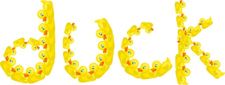 prawny: Cute illustration of the word DUCK made up of lots of little yellow ducks isolated on white. Stock Photo