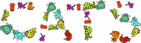 prawny: Cute cartoon illustration of a group of lots of colourful and diverse cats forming the word CATS isolated on white.