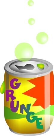 awful: Funny illustration of a made up can of grunge flavoured soda drink. It must taste quite awful. Isolated on white.