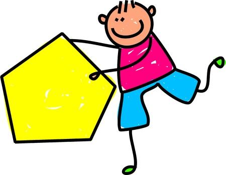 Cute cartoon illustration of a happy little boy holding a large yellow pentagon shape.