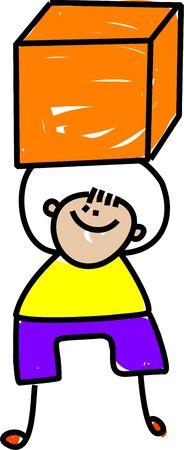 Cute cartoon illustration of a happy little boy holding a large cube shape. Stock Illustration - 8789601