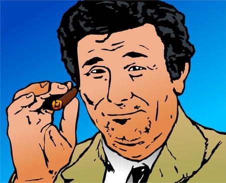 Pop art style illustration of the tv character lieutenant Columbo smoking on a cigar.