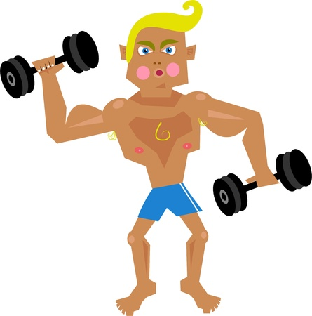 Cartoon illustration of a young man lifting weights to try and build up his muscles. Hes a bit of a poser.