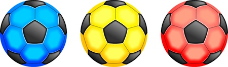 prawny: Illustration of three different coloured soccer balls, blue, yellow and red.
