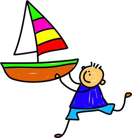 boating: Cute cartoon whimsical childlike drawing of a little boy holding a large toy boat.