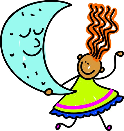 prawny: Cute cartoon whimsical childlike drawing of a happy little girl holding the moon.