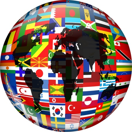 Colourful globe illustration made up of flags from all over the world and incorporating a world map.