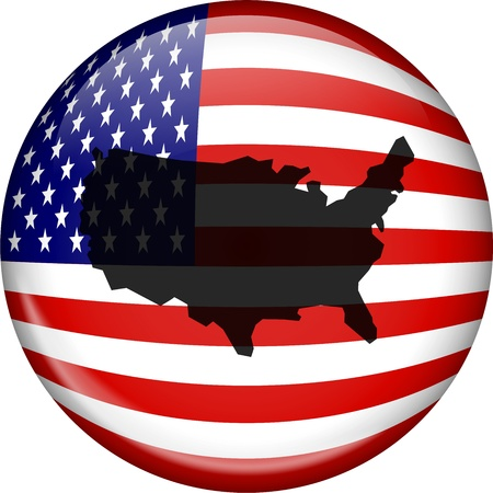 prawny: Illustration of a flag of the United States of America forming a globe shapes with an American map superimposed over the top.