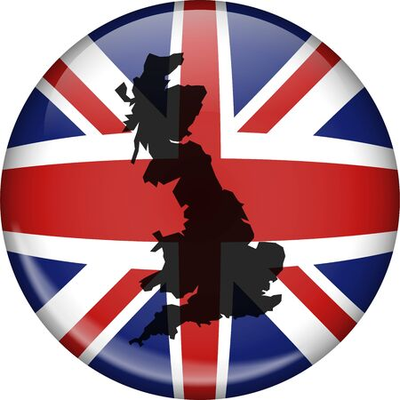 Illustration of a union jack flag of Great Britain shaped like a globe with a map of the UK superimposed over the top. illustration