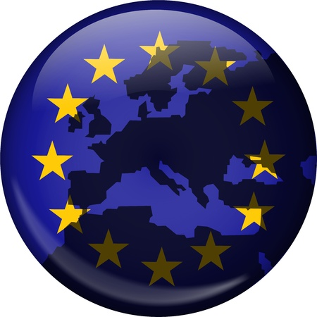 eu flag: Illustration of the flag of Europe shaped like a globe with a European map superimposed over the top.