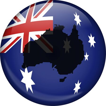 Illustration of the flag of Australia shaped like a globe with a map of Australia superimposed over the top. illustration