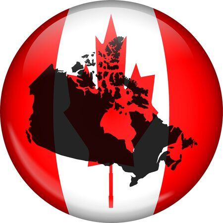 prawny: Illustration of the flag of canada shaped like a globe with the Canadian map over the top.