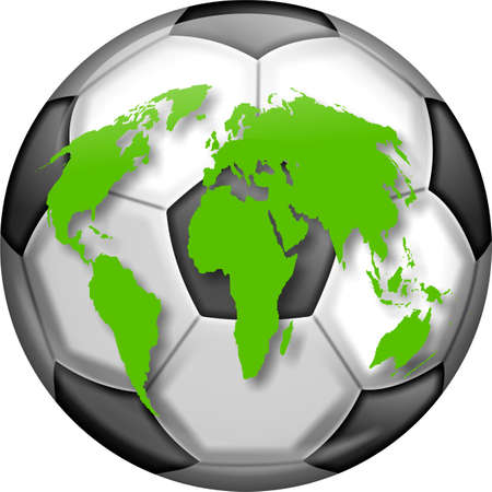 prawny: Illustration of a soccer ball with a map of the world designed over the top. Stock Photo