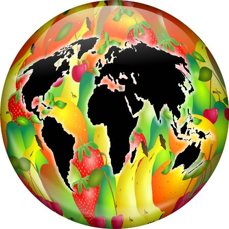 world agricultural: Illustration of a world globe made up of various types of fruit from all over the world. Conceptual image.